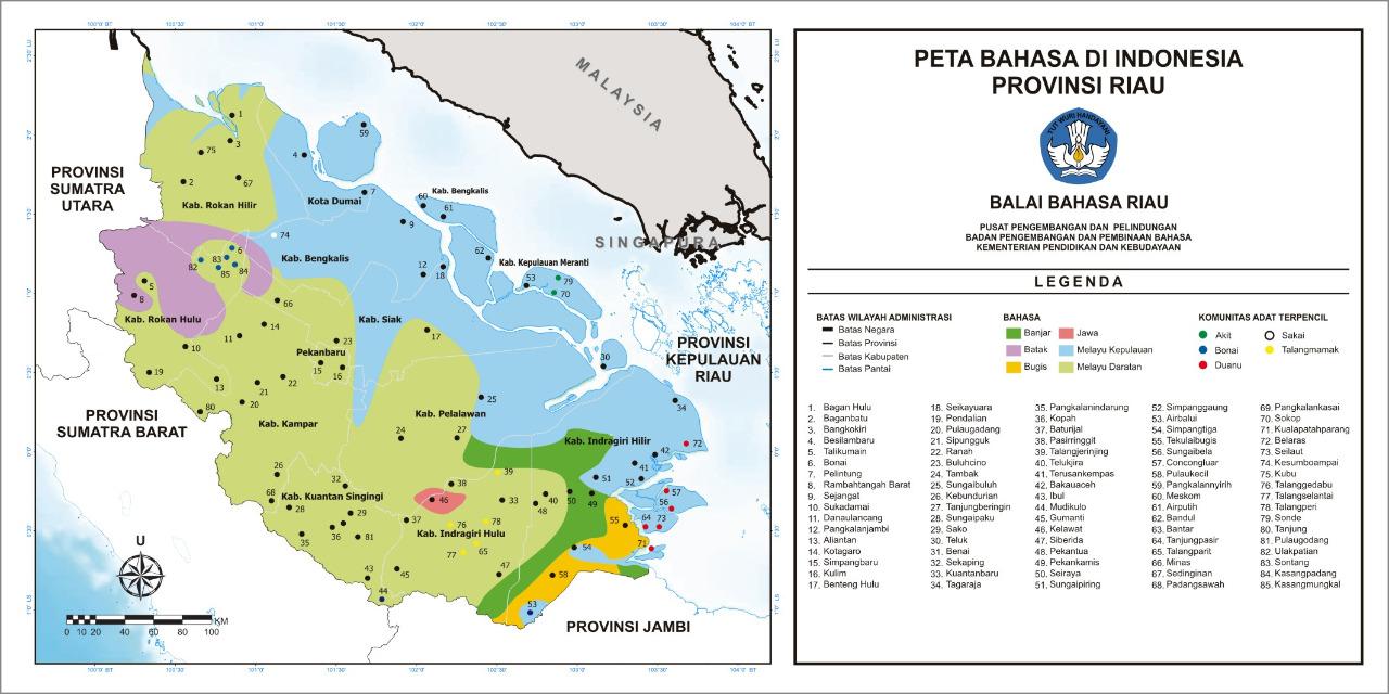 Grafis Peta Bahasa di Indonesia - Provinsi Riau