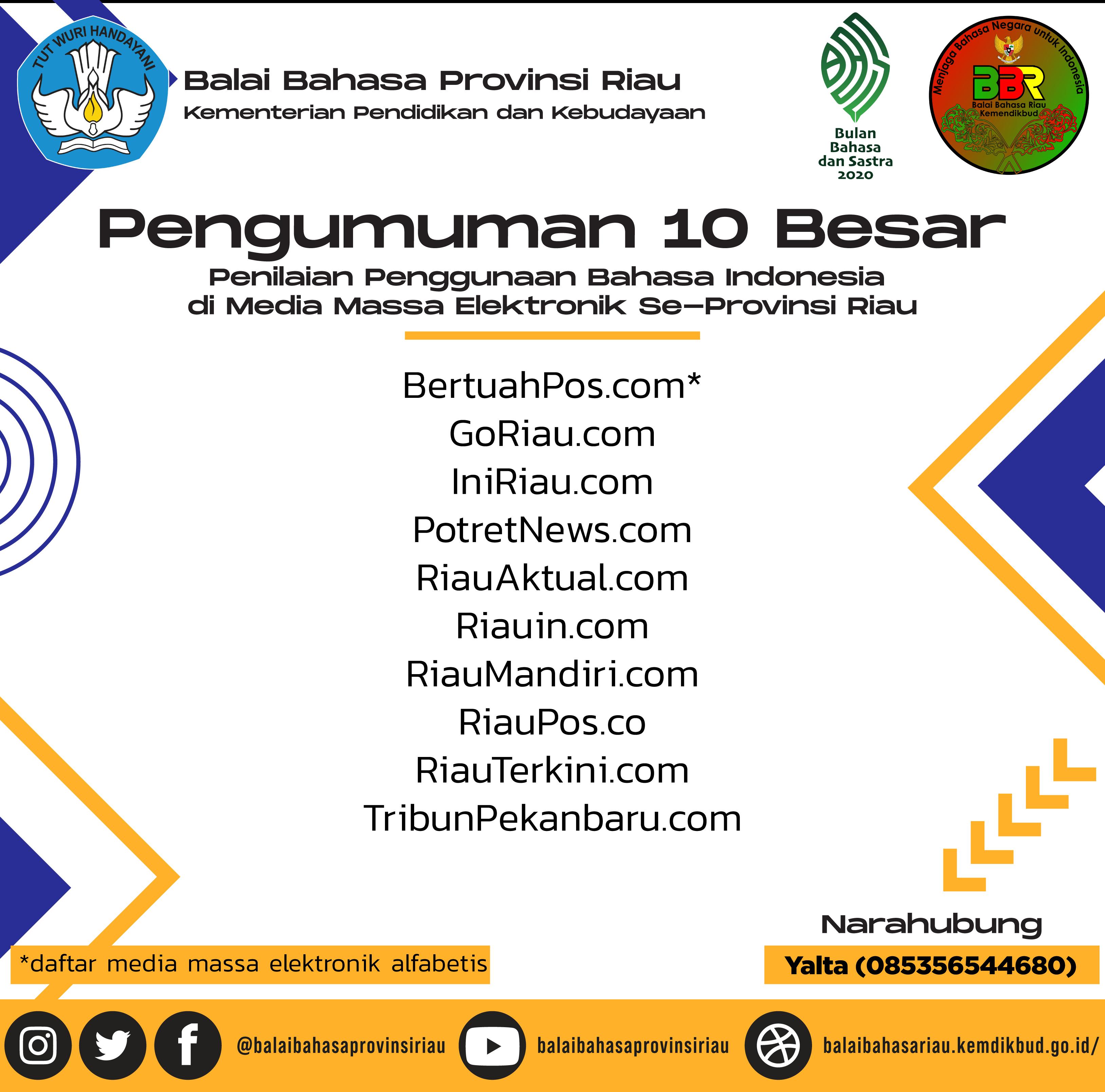 Pemenang Lomba Media Massa Elektronik Bulan Bahasa 2020