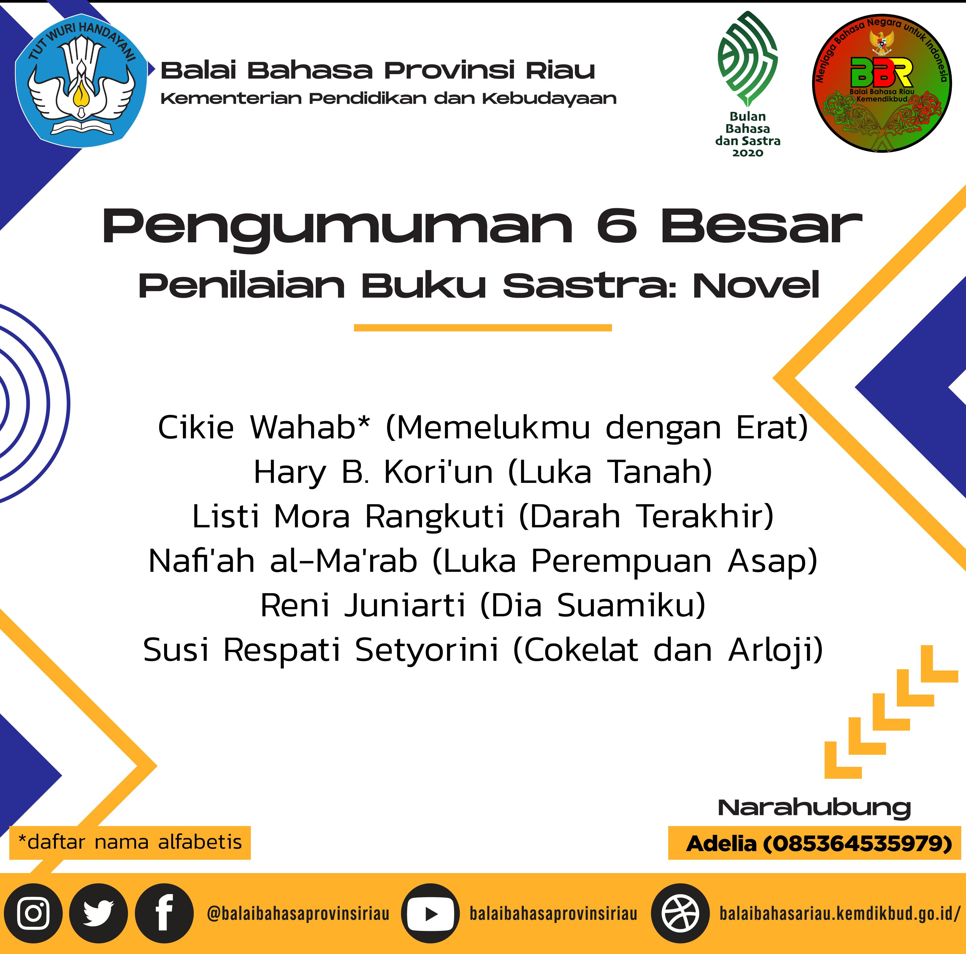 Pemenang Lomba Novel Bulan Bahasa 2020
